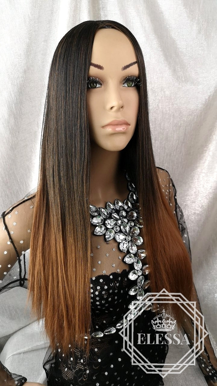Long Straight Ombre Wig Black And Brown Elessa Long Wigs