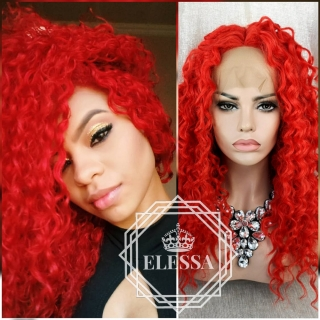 Lace Front LUXURY WIG ELESSA Bright Red Curly Kinky African American Human Hair Blend Wig / Exotic Curly Red Wig
