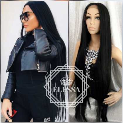 Lace Front LUXURY WIG ELESSA  SUPER Long Black Color Straight 105 cm Human Hair Blend Lace Wig, Wigs, Wigs for Women, Extra Long Black Color Wigs