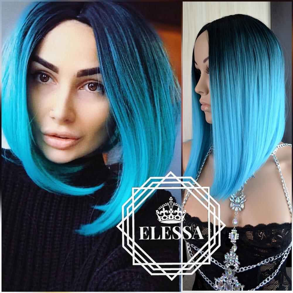 Long Bob Style Wig Black And Blue Ombre Elessa Medium Wigs