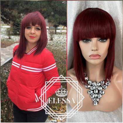 Burgundy Red Wig Wig French Style with Bangs ELESSA