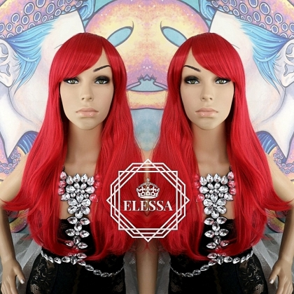 Long Bright Red Wig with Bangs ELESSA