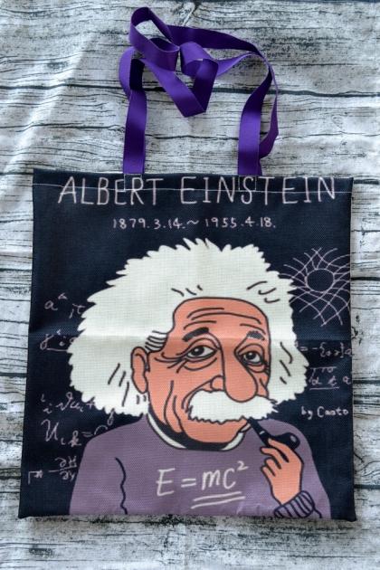 Дизайнерска Арт Чанта / Торба Принт Илюстрация Алберт Айнщайн