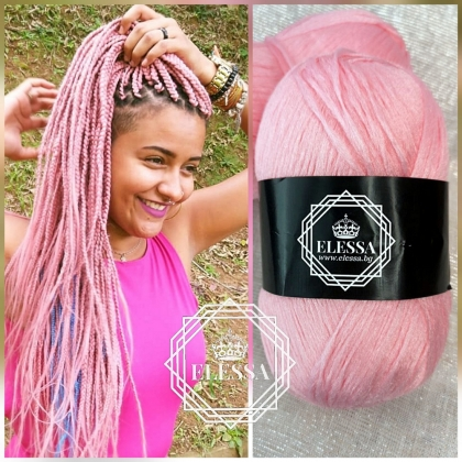 Brazilian Yarn for Braids High-Quality Acrylic wool for Hair Jumbo Braids, Senegalese Twist/ Wraps Natural / Knitting Hair ,Light Pink Braids