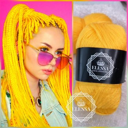Бразилско Влакно / Прежда За Плетене на Плитки за коса / Сенегалски Плитки / Афро Плитки / Плетене на Коса, Прежда за Коса ,Прежда за Прически, Жълта Прежда