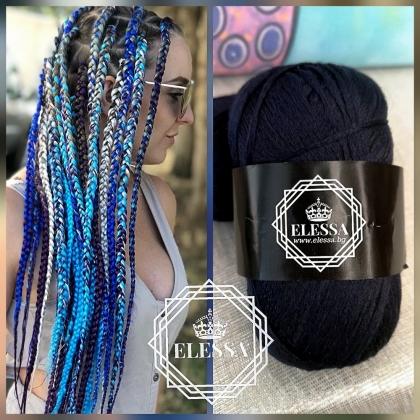 Бразилско Влакно / Прежда За Плетене на Плитки за коса / Сенегалски Плитки / Афро Плитки / Плетене на Коса, Прежда за Коса ,Прежда за Прически, Тъмно Синя Прежда