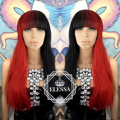 Long Straight Duo Ombre Wig Black and Red Color with Bangs, Wigs, Wig for Women, Kawaii. Cosplay, Gothic, Lolita ELESSA