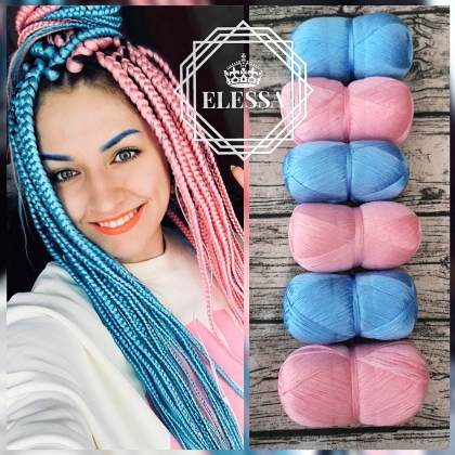 Set of Brazilian Yarn for Braids High-Quality Acrylic wool for Hair Jumbo Braids, Senegalese Twist / Wraps Natural / Knitting Hair, Light Pink Yarn, Light Blue Yarn, Yarn for Hair