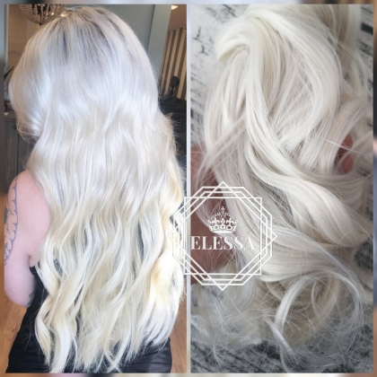 Natural Extension Luxury Set / Hair Extensions, Ice Blonde Color Long Straight 55cm Hair Extensions