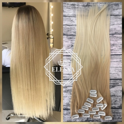 Natural Extension Luxury Set / Hair Extensions, Natural Ombre - #24 Dark Blonde and #613 Light Blonde Color Long Straight 60cm Hair Extensions
