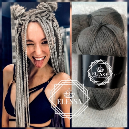 Brazilian Yarn for Braids High-Quality Acrylic wool for Hair Jumbo Braids, Senegalese Twist/ Wraps Natural / Knitting Hair ,Dark Grey Braids