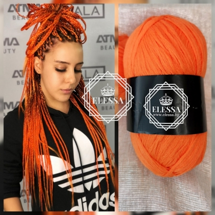 Brazilian Yarn for Braids High-Quality Acrylic wool for Hair Jumbo Braids, Senegalese Twist / Wraps Natural / Knitting Hair, Orange braids