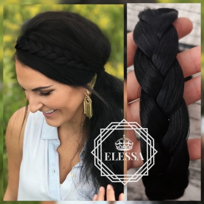 Braided Headband Natural Black Color, Synthetic Natural Looking Hair Extension Wig Headwear For Women