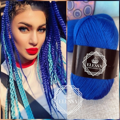 Brazilian Yarn for Braids High-Quality Acrylic wool for Hair Jumbo Braids, Senegalеse Twist/ Wraps Natural / Knitting Hair , Royal Blue Braids