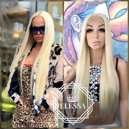 Lace Front LUXURY Long Straight Light Blonde #613 Color Wig, Wigs, Natural Style Wigs, Wig for Everyday Wear, Chemo Wigs, Human Hair Look Wig, Blonde Long Wigs, Wedding Wigs