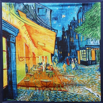 Шал - Винсент ван Гог / Café Terrace at Night ( Кафе тераса през нощта ), Специален Подарък Шал, Шалове за Жени, Дамски Шалове, Шалове за Мъже, Мъжки Шалове, Шалове с Принт, Художници, Ретро Стил Шалове, Бутикови Шалове, Квадратни Шалове
