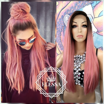 Lace Front LUXURY Long Straight Ombre Ash Pink Mix and Root Natural Dark Brown, Wigs, Wigs for Womens, Wig with Bangs, High - Quality Human Hair Look Wig, Trendy 2020 Styled Wig, Professional Wigs, Wig for everyday wear, Pink Wigs, Ombre Wigs
