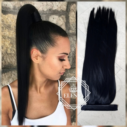Ponytail with Tape Hair Natural Black ELESSA