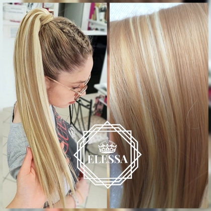 Ponytail with Tape Hair Long 60cm Straight Mixed Light Natural Blonde #613 with #27 Dark Blonde Color