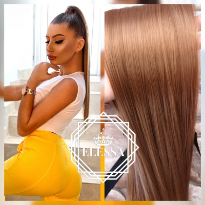 Natural Light Brown Color Ponytail 50 cm Straight Hairstyle