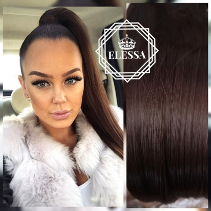 Natural Dark Brown #4 Color Ponytail 50 cm Straight Hairstyle