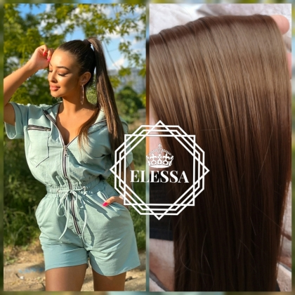 Natural Light Brown №6 Color Ponytail 50 cm Straight Hairstyle