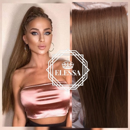 Ponytail with Tape Hair Long 60cm Straight Natural Light Brown #12 Hair Color