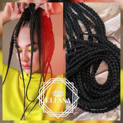 Long Exotic Ponytail with Handmade Knitted Braids Natural Black Color with Elastic