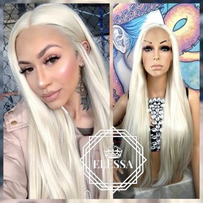Lace Front LUXURY Long Straight Platinum Ice Blonde Color Wig, Wigs, Full Lace Wig, Wigs for Womens, Blonde Wigs, Natural Human Hair Look Wig, Synthetic Fiber Wig, Scene Wig, Daily Fashion Wig, Extra Long Wig, White Wigs, Pastel Wig, Wig for Everyday Wear