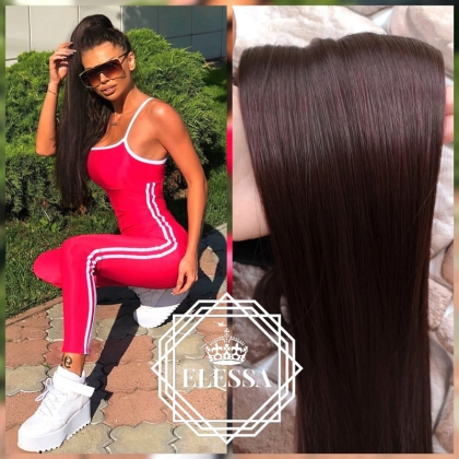 Ponytail with Tape Hair Long 60cm Straight Natural Mahogany Brown #4 / #33 Hair Color