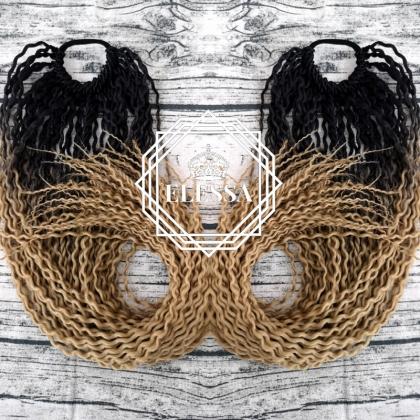 Екзотична Удивителна Гофрирана Коса Опашка в Цвят Омбре - Черен / Тъмно Рус, Къдрави Опашки, Опашки с Ластик, Високи Опашки, Кок за Коса, Афро Опашки, Чупливи Опашки, Омбре Опашки за Коса, Поставяне на Опашка за Коса, Високи Опашки, Магазин за Аксесоари