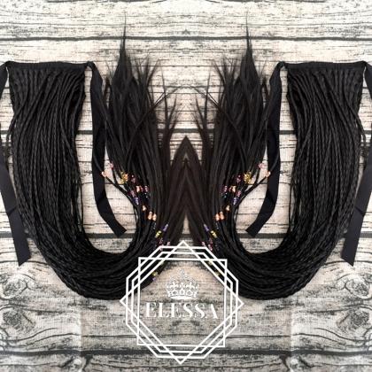 Опашка с Плитки и Връзки в Натурално Черен Цвят, Опашки за Коса, Синтетични Опашки за Коса, Конски Опашки, Опашки с Връзване, Плетени Опашки, Черна Коса, Опашка с Плетени Плитки за Коса, Афро Плитки