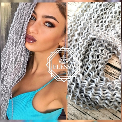 Long Exotic Ponytail with Goffered / Wavy Hairstyle Synthetic Hair Platinum Light Grey Color with Elastic