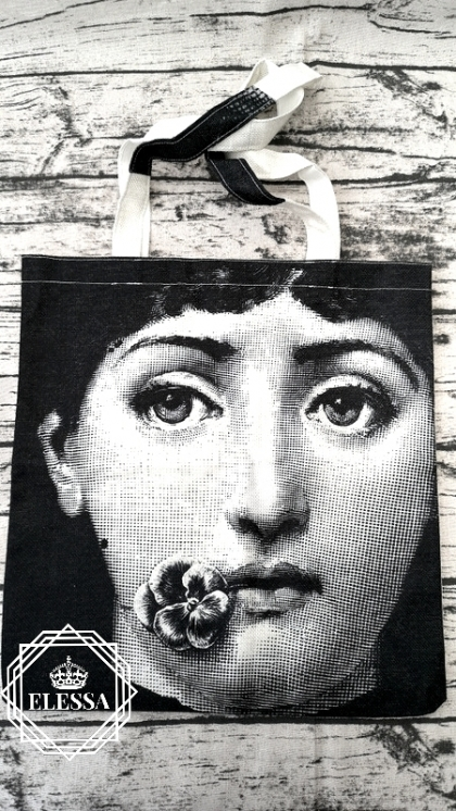 Дизайнерска Арт Чанта / Торба Принт Илюстрация Face Fornasetti (Lina Cavalieri MUSE)