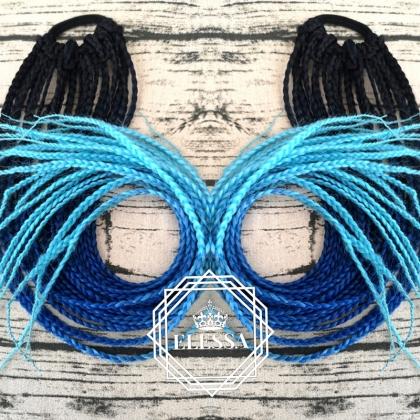 Екзотична Дълга Опашка с Афро Плитки в Цветен Омбре Ефект - Черно / Тъмно Синьо / Светло Синьо, Дълги Опашки с Плитки, Афро Стил Плитки за Коса, Екстеншъни за Коса, Опашка с Плитки за Кок, Цветна Опашка за Коса, Синтетични Опашки за Коса Онлайн
