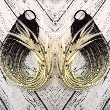Красива Дълга Опашка с Ластик и Афро Плитки в Цвят Омбре - Кафяво / Русо, Опашка за Кок, Висока Конска Опашка, Опашка с Ластик, Омбре Опашка за Коса, Руса Опашка, Плитки за Коса, Африкански Плитки, Модерни Летни Прически с Плитки