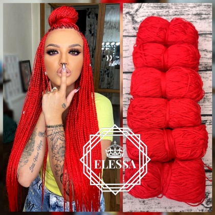 Brazilian Yarn for Braids High-Quality Acrylic wool for Hair Jumbo Braids, Senegalese Twist / Wraps Natural / Knitting Hair, Red Color Yarn for Hair Braids, Red Color Yarn for Hair Knitting, Set for Hair Braids, Sexy Long Braids